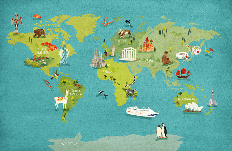 World Map for Journey Mag - Hannah Bailey Illustration