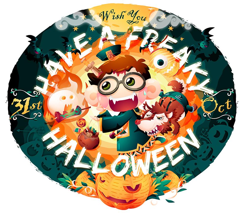 Illustration Littlefatty Mobile Phone Halloween Wallpaper