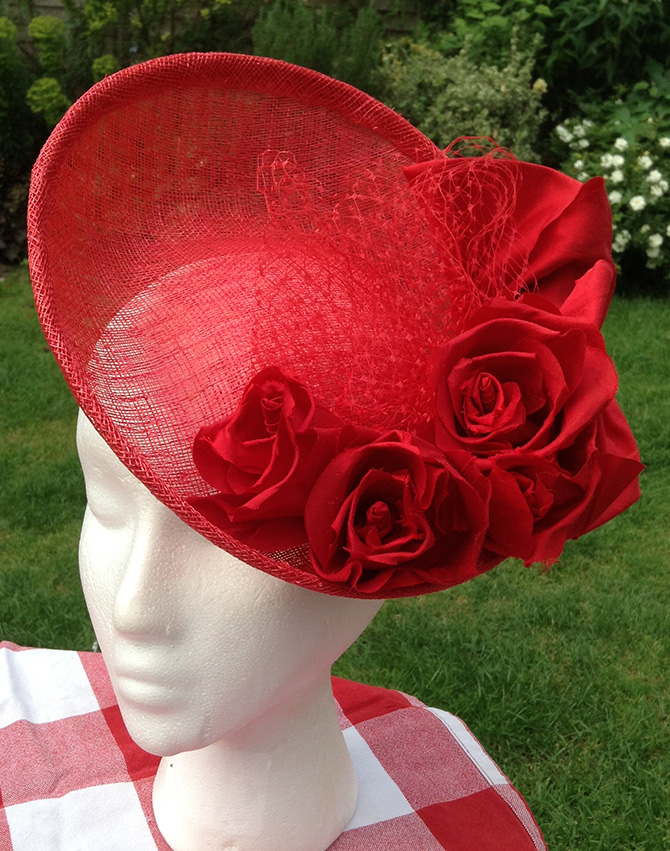 Red Rose Flower Sinamay Fascinator Hat - Pleated Rose bd10375e6bb