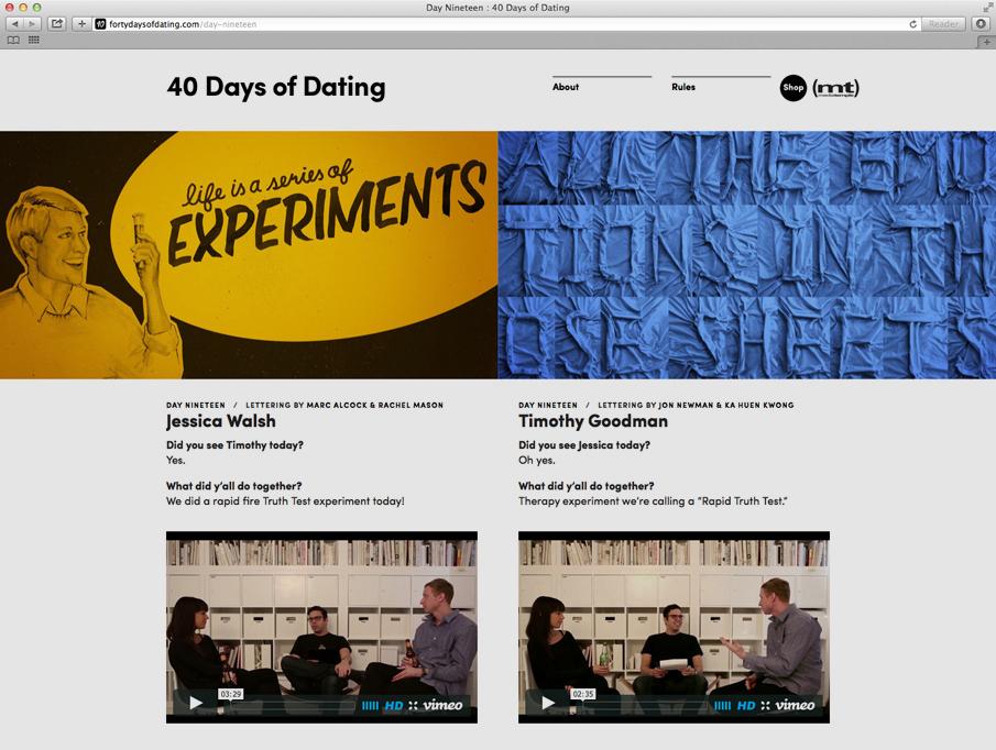 40 dagen van dating Jessica Walsh Vimeo
