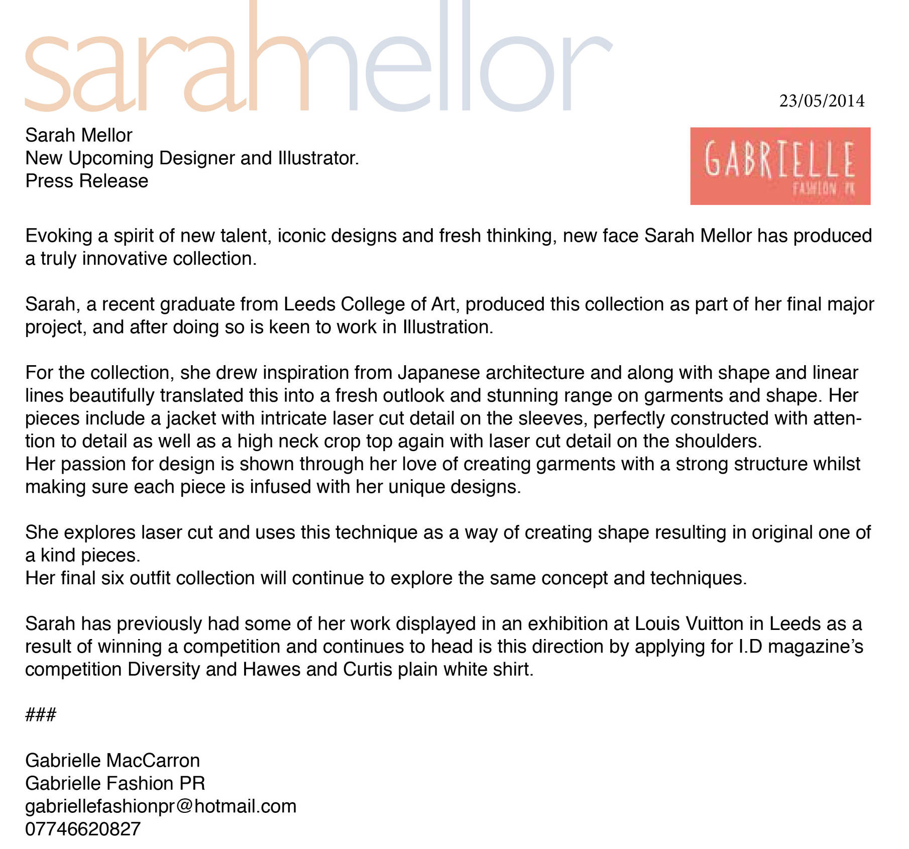 Sarah Mellor Fashion Designer Gabrielle Fashion Pr