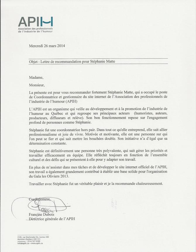 Lettres De Recommandation Letters Of Recommendation Stephanie Matte