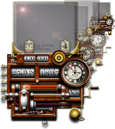 Steampunk Clock/Calendar Widget - Steampunk Widgets of Worldwide Repute