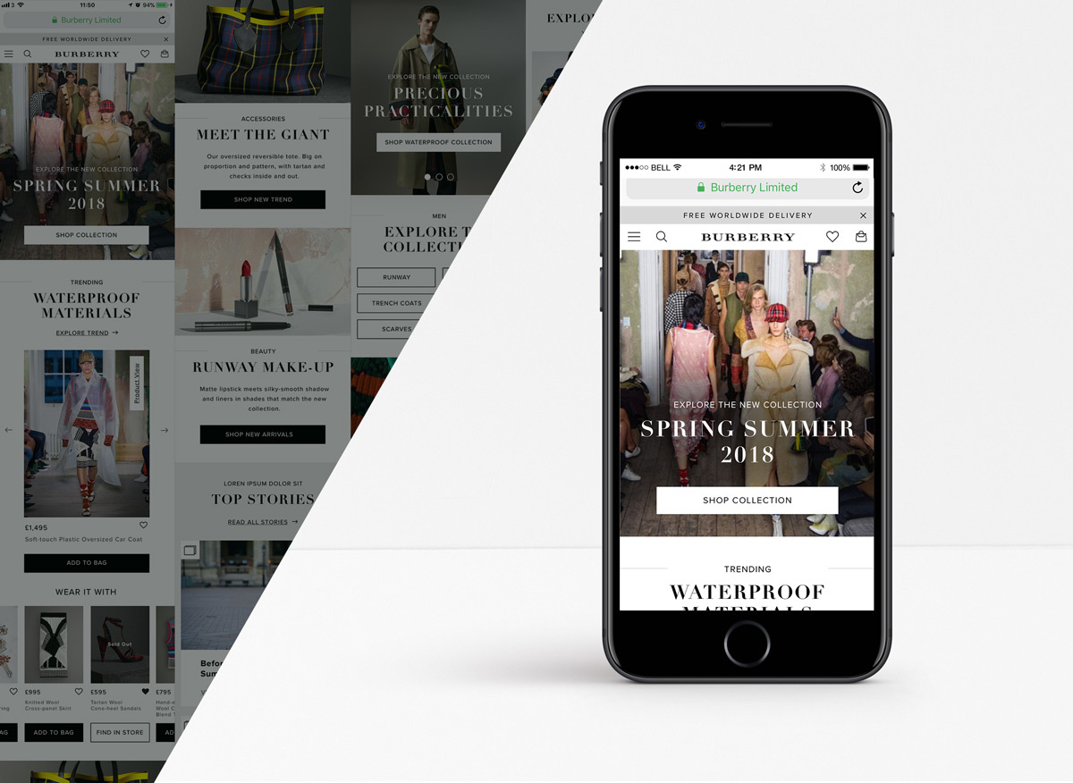 f053a982363 Burberry. Redesign proposal of the main landing pages on the mobile website:  Home, Women and Men.