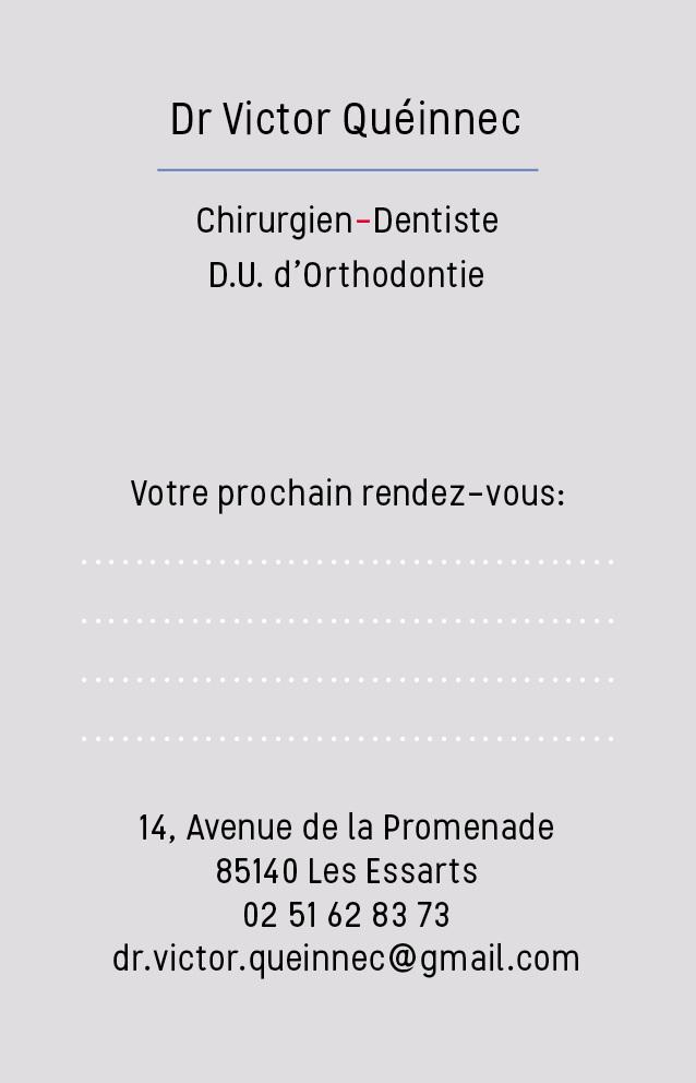 Carte De Visite Du Docteur Victor Queinnec Chirurgien Dentiste DU D Orthodontie Aux Essarts 85