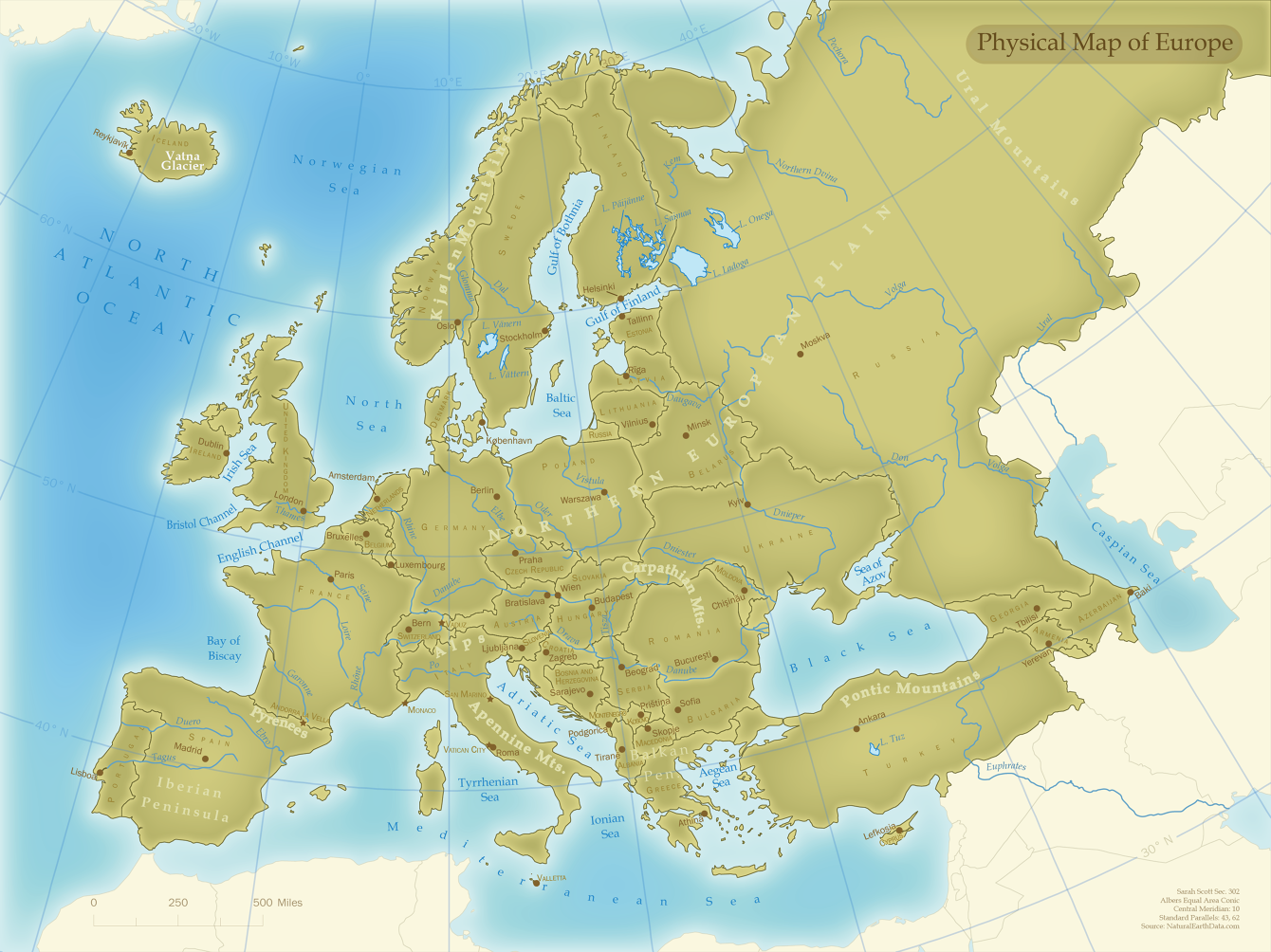 Picture of: Physical Map Of Europe Sarah Scott Cartographer
