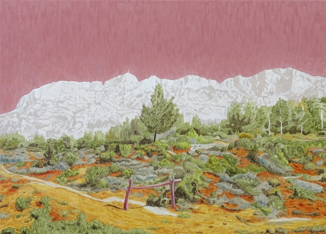 Oil Painting on Canvas Helen Holst 1985 14 x 11 Outdoor Nature Mountains