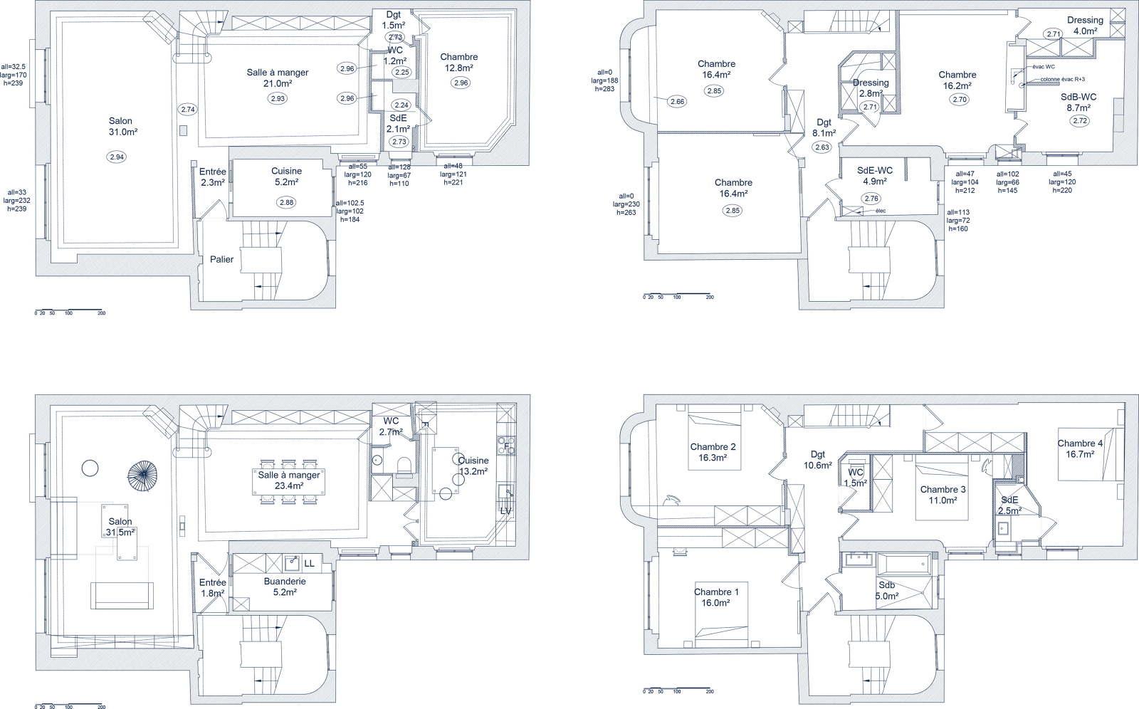 Salle De Bain Avec 2 Entrees vert le bleu - architecte paris 18ème - bardin architecte