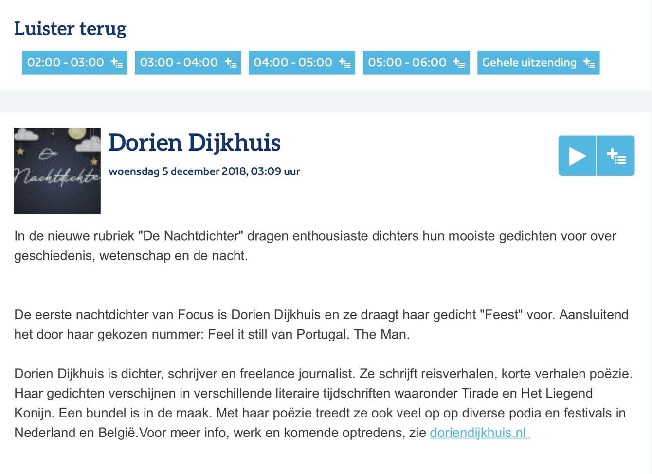 Npo Radio 1 Dorien Dijkhuis