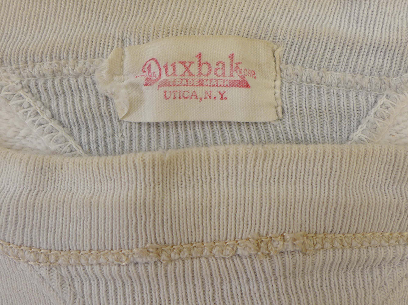 1ab9d98ed6c20 Gone from the hold but never from the heart. 1940's all cotton Utica Duxbak  Corp. 'Double V' athletic sweatshirt. Fare thee well!