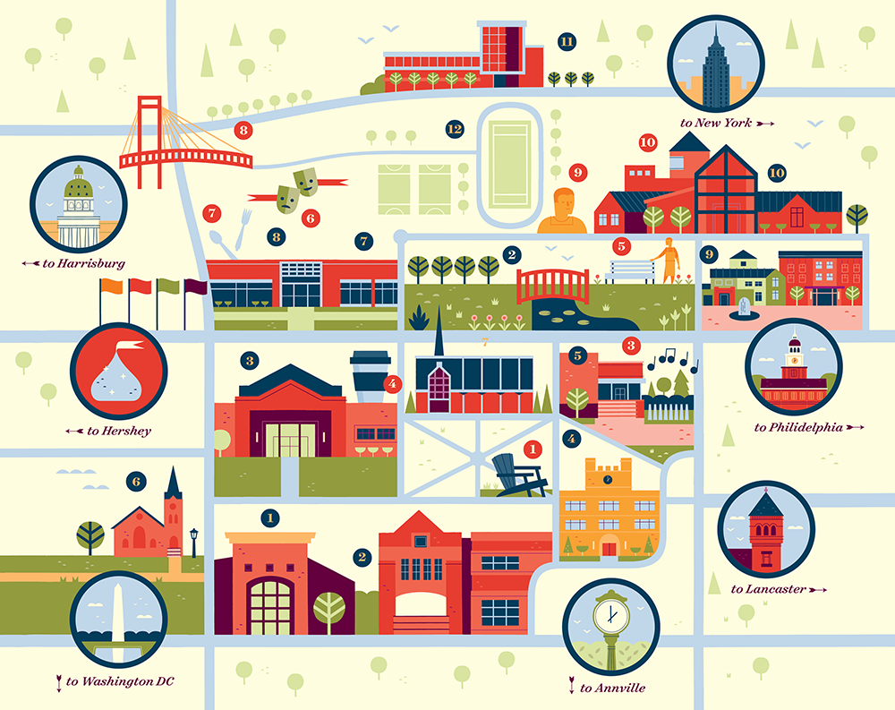 Lebanon Valley College Campus Map.Lebanon Valley College Map Alexander Vidal Illustration