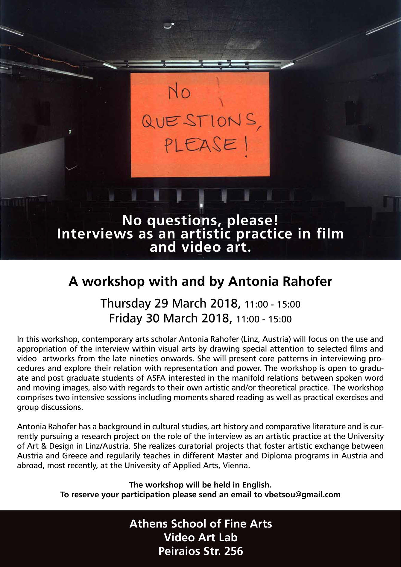 2018 No Questions Please Interviews As An Artistic Practice In Film And Video Art Vickybetsou