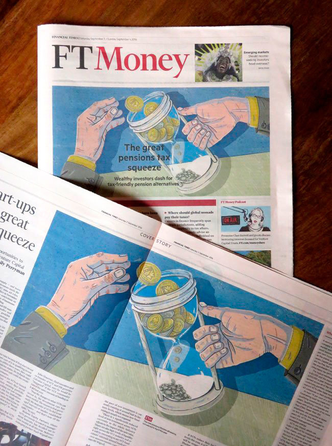 The Financial Times Asked Me To Illustrate Cover Story Of Their Money Pages Piece Discussed Upcoming Tax Squeeze On Pensions Being Devised By