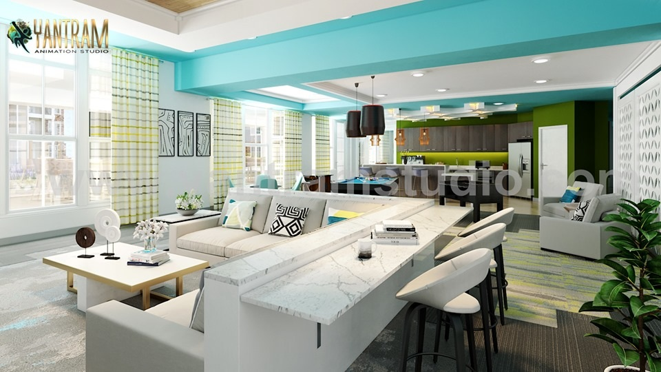 Clubhouse Sitting Area Including Pool Table With Kitchen Interior Design Rendering 3d Architectural Design Studio Virtual Reality And Augmented Reality Apps Development