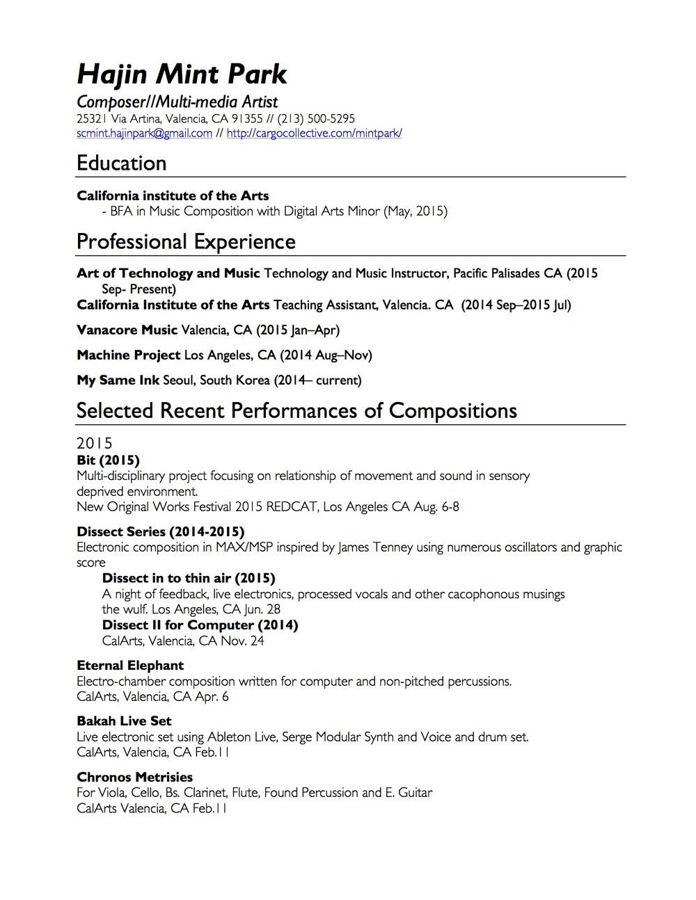 Cv Resume Mint Park