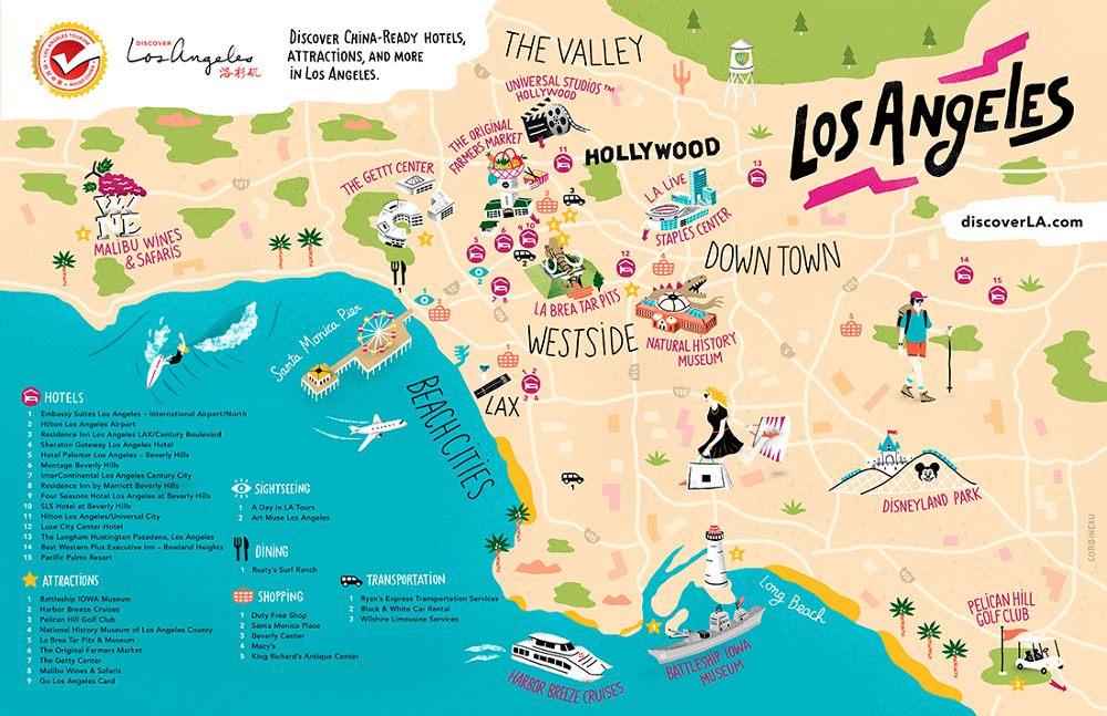 Map Of Los Angeles Los Angeles Tourism   Antoine Corbineau • Illustration & Design Map Of Los Angeles