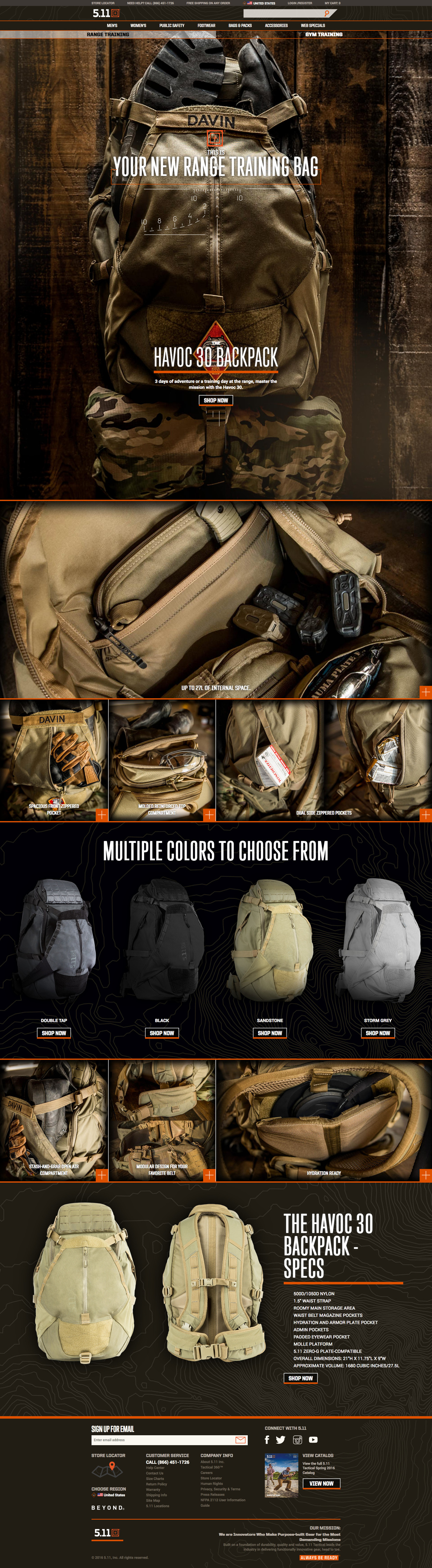 d741ef4d3d 5.11 Tactical Havoc 30 Backpack Landing Page design - Visual Foundry