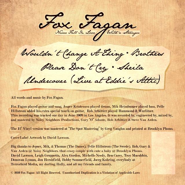 Fox Fagan Album Art - Sluicebox Design