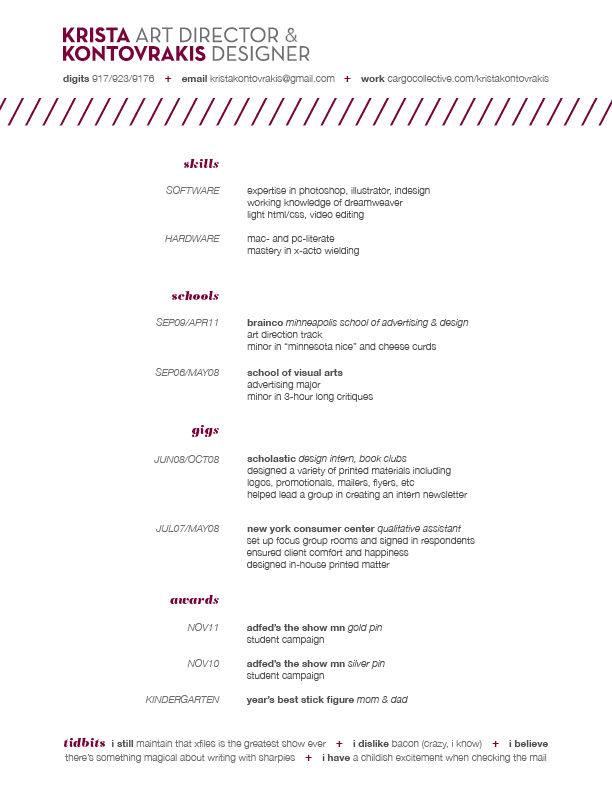 resume contact about portfolio