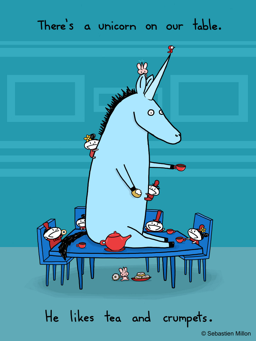 There S A Unicorn On Our Table Sebastien Millon Art
