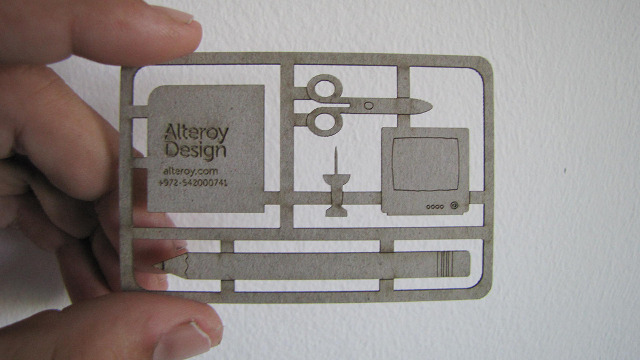 Alteroy die cut business cards