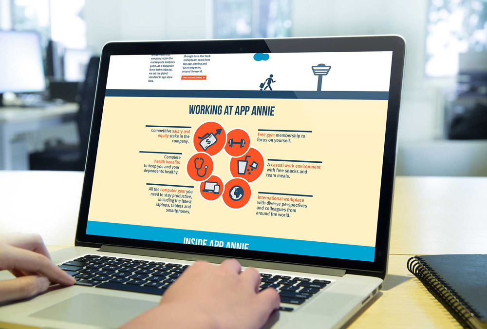 I designed a new Jobs Page with the objective of revamping their  recruitment material. Agency  G2S   Client  App Annie bb3325d2f69