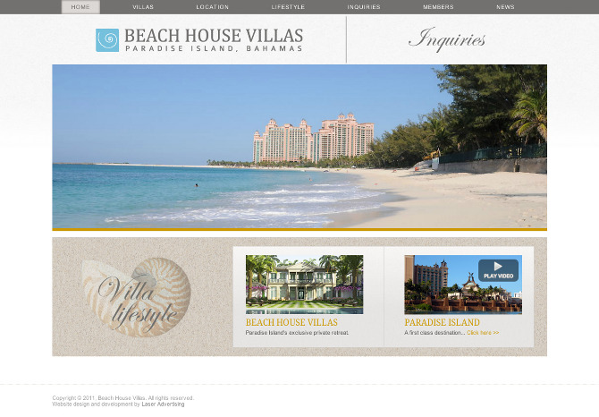 luxury housing and hotel website design and programming for a luxury