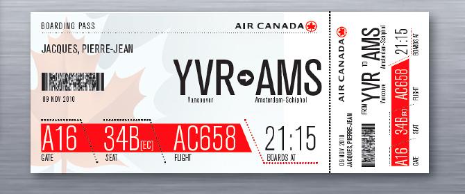 Air Canada Boarding Pass Phoenix Creative