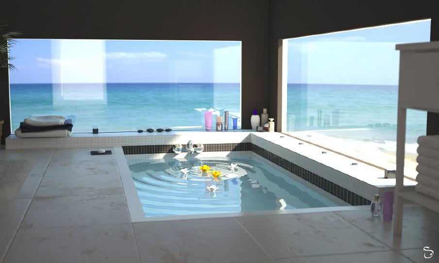 Salle de bain sur plage 3drealms - Spa salle de bain ...