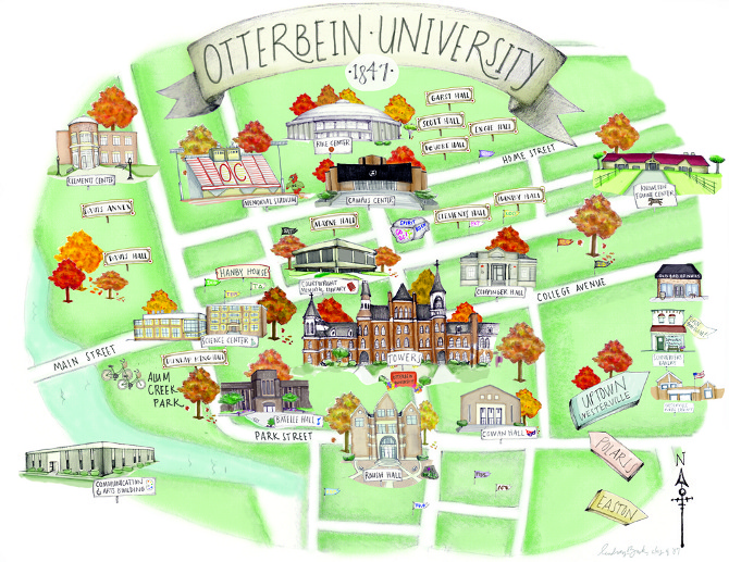Oc Campus Map.Otterbein University Campus Map Illustration Lindsey Buck