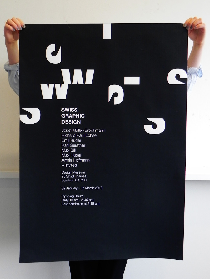 Poster for a fictitious exhibition of Swiss graphic design.