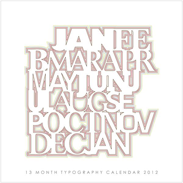 Calendar Typography Zenfolio : Typography calendar jonathan m hart