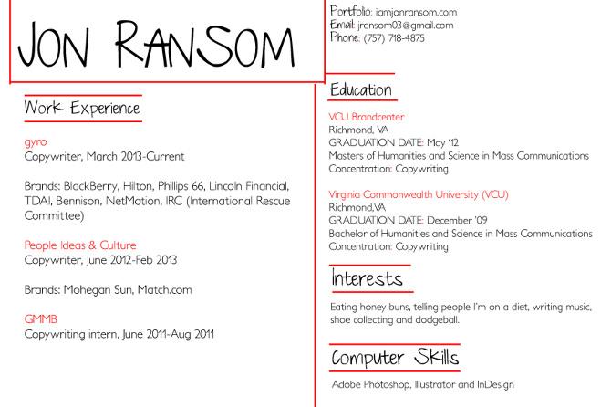 ABOUT ME RESUME Jon Ransom Copwriter