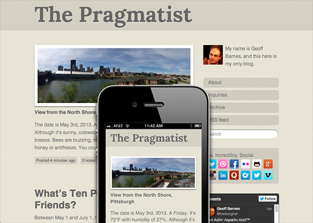 The Pragmatist Tumblr Theme - Geoff Barnes UX