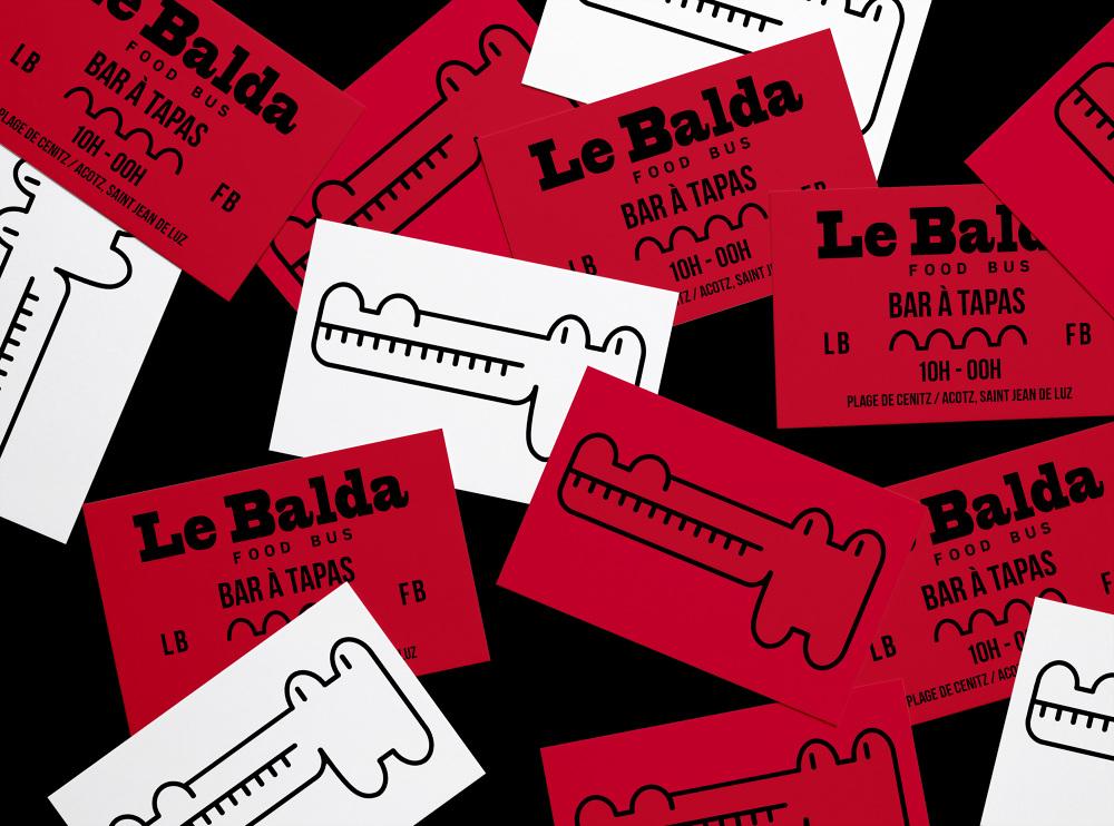 Identite Visuelle Du Bar A Tapas Le Balda Food Bus De La Plage Cenitz Carte Visite Signaletique Set Papier Et Web Declinaison Textile