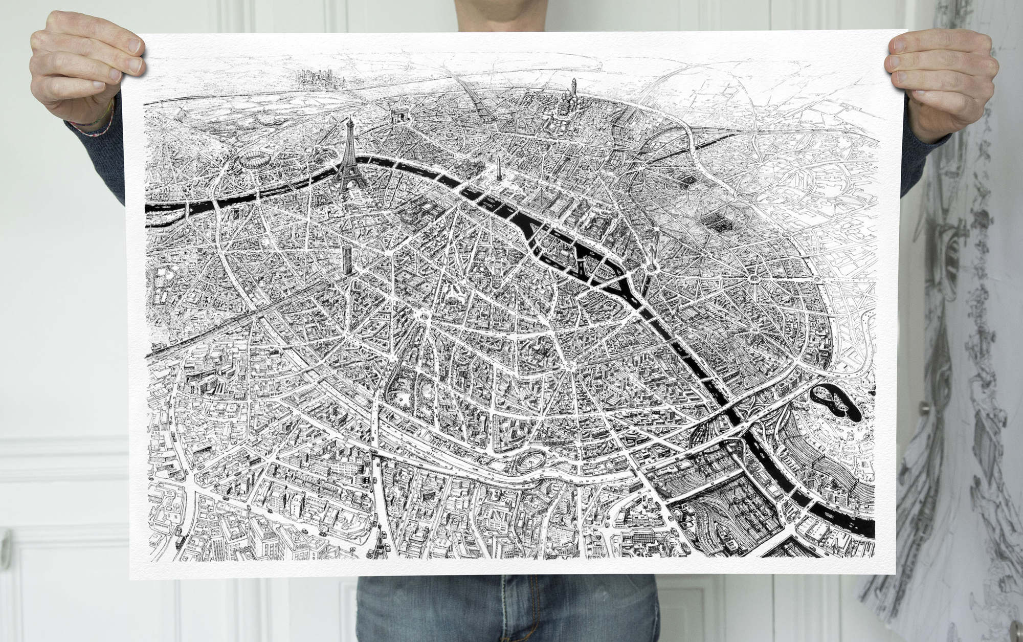 Paris City Map Ltd Edition Print Thomas Dartigues Aka Decktwo