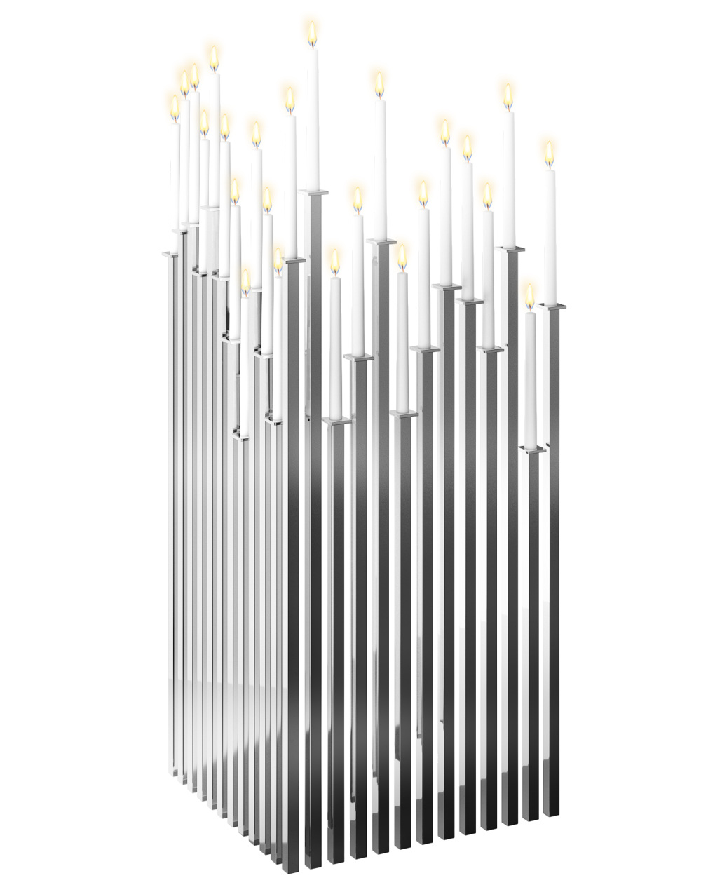 6 Tall Luxury Modern Silver Steel Candelabra Room Divider Screen Candle Holder Designer Jennava Laska Portfolio Furniture Sculpture Film