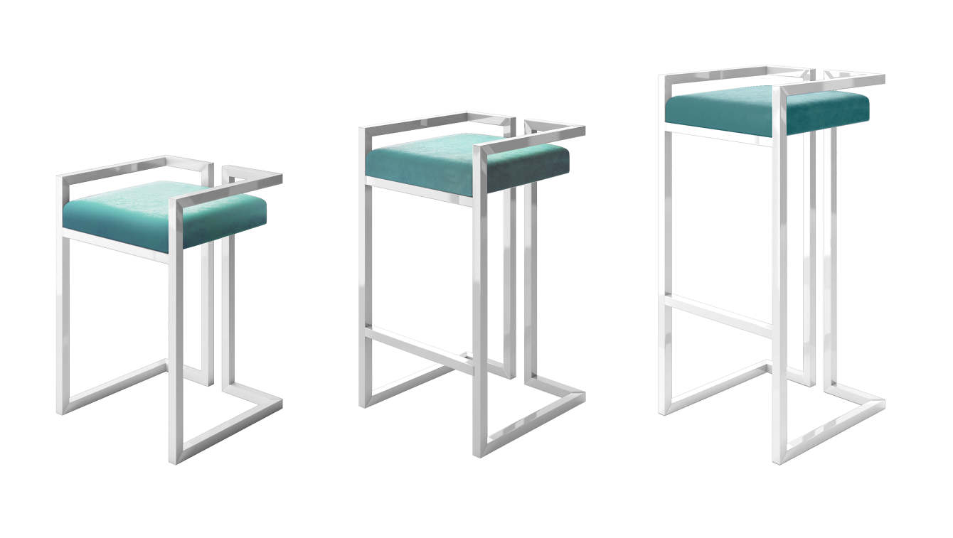 Swell Custom Luxury Bar Stool White Frame With Blue Velvet Seat Caraccident5 Cool Chair Designs And Ideas Caraccident5Info