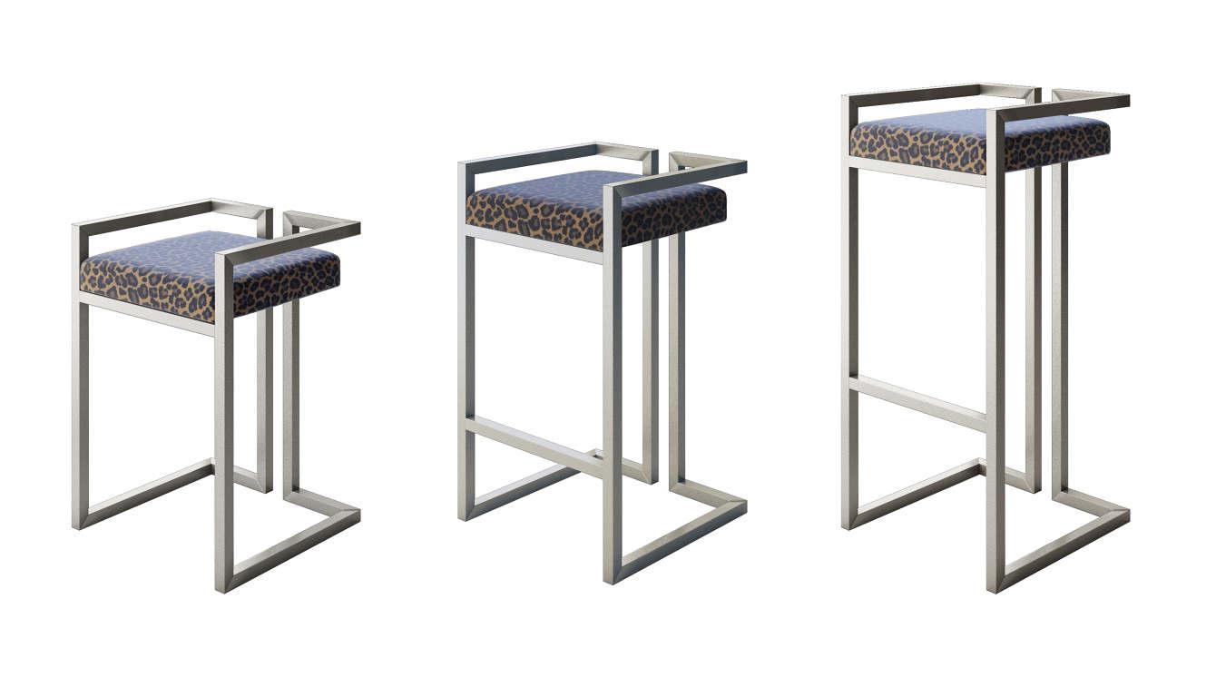 Stupendous Modern Gloss Black Leopard Print Stool International Style Cjindustries Chair Design For Home Cjindustriesco