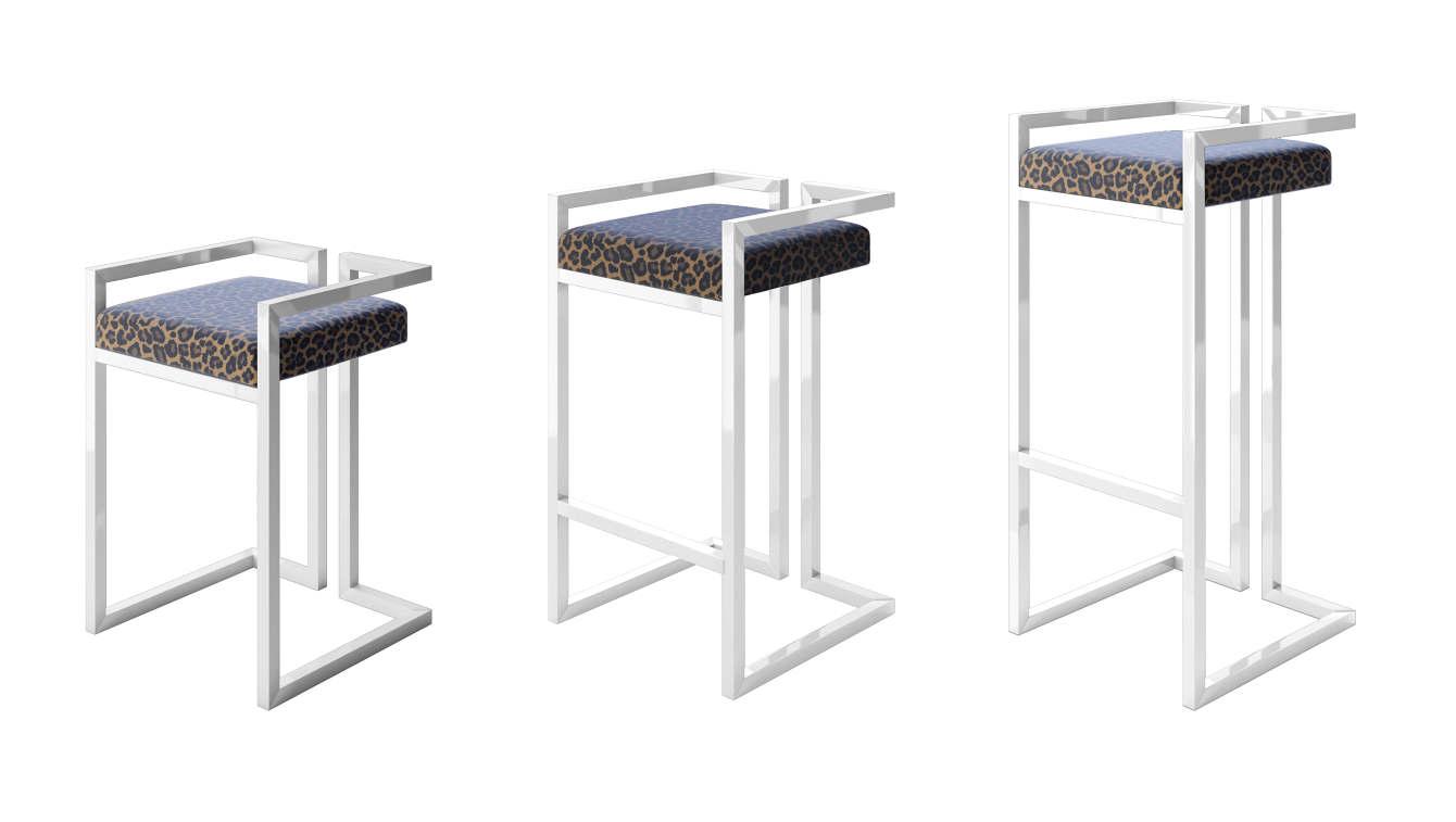 Enjoyable Modern Gloss Black Leopard Print Stool International Style Cjindustries Chair Design For Home Cjindustriesco