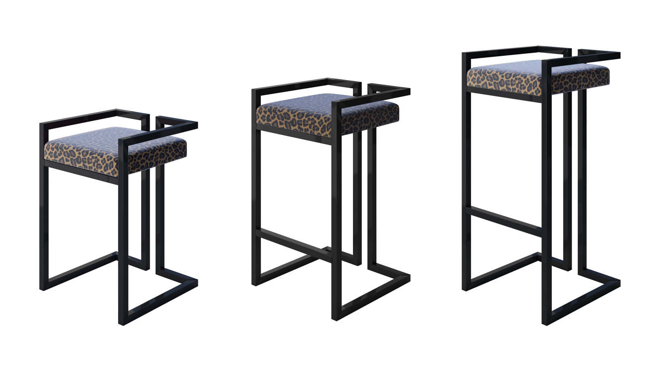 Modern Gloss Black Leopard Print Stool International Style Available In 3 Sizes Designer Jennava Laska Portfolio Furniture Sculpture Film