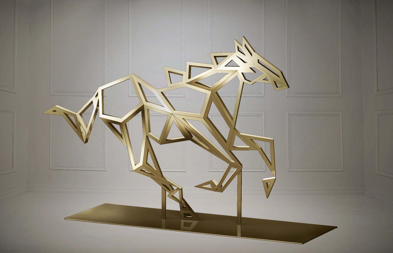 Modern Gold Running Horse Mustang Sculpture Large Scale Garden Art Statue Designer Jennava Laska Portfolio Furniture Sculpture Film