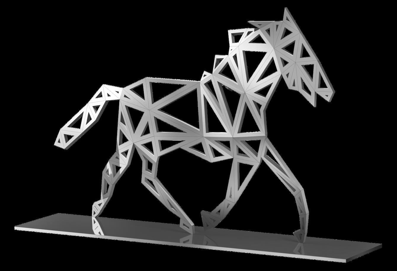Modern Silver Trotting Horse Mustang Animal Garden Lawn Large Scale Sculpture Statue Designer Jennava Laska Portfolio Furniture Sculpture Film