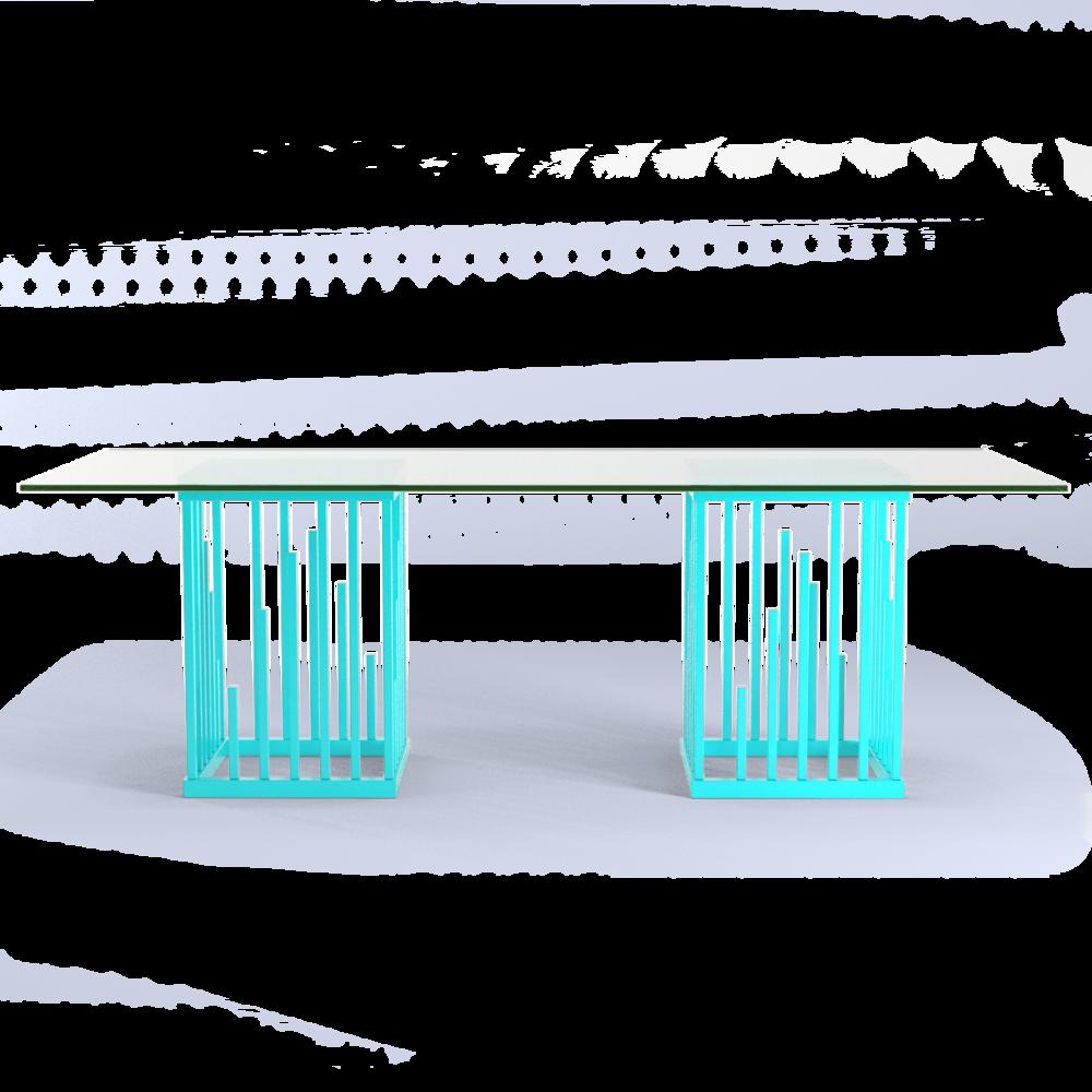 Scale Moderne Design.Ultra Modern Dining Table Turquoise Blue Teal Blue Moderne