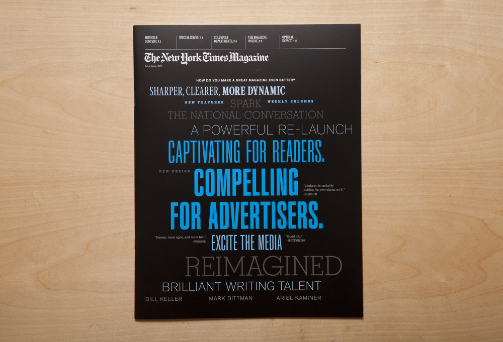 Nyt Magazine Sales Brochure - Sarah A. Cohen // Art Direction & Design
