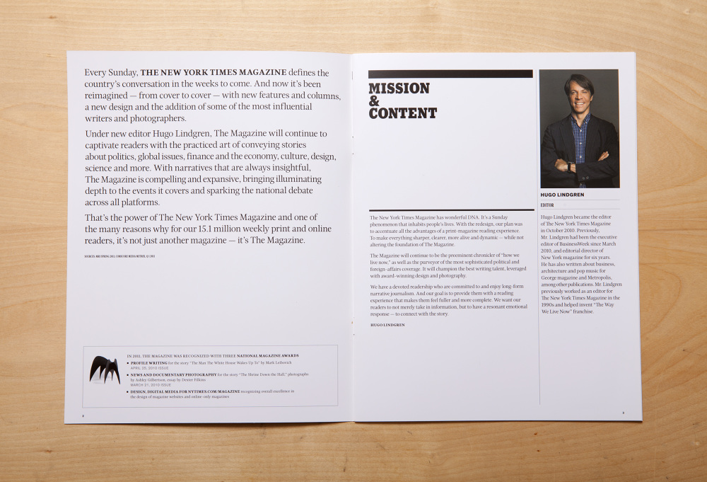 This 12 Page Advertising Piece For The New York Times Magazine Celebrates  Editor Hugo Lindgrenu0027s Exciting, Bold Redesign. Highlighting New Special  Issues, ...