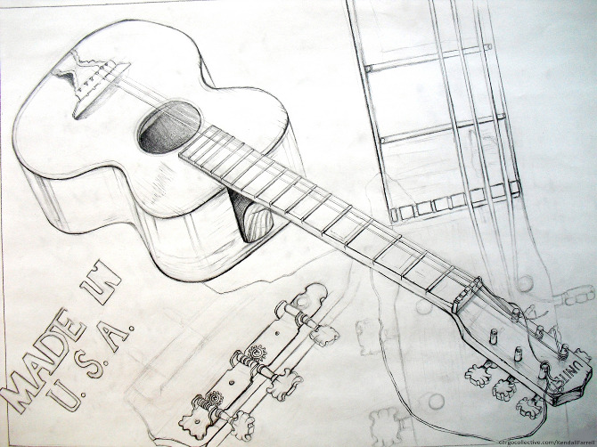Contour Line Drawing Guitar : Academic drawings and paintings of kendall farrell the