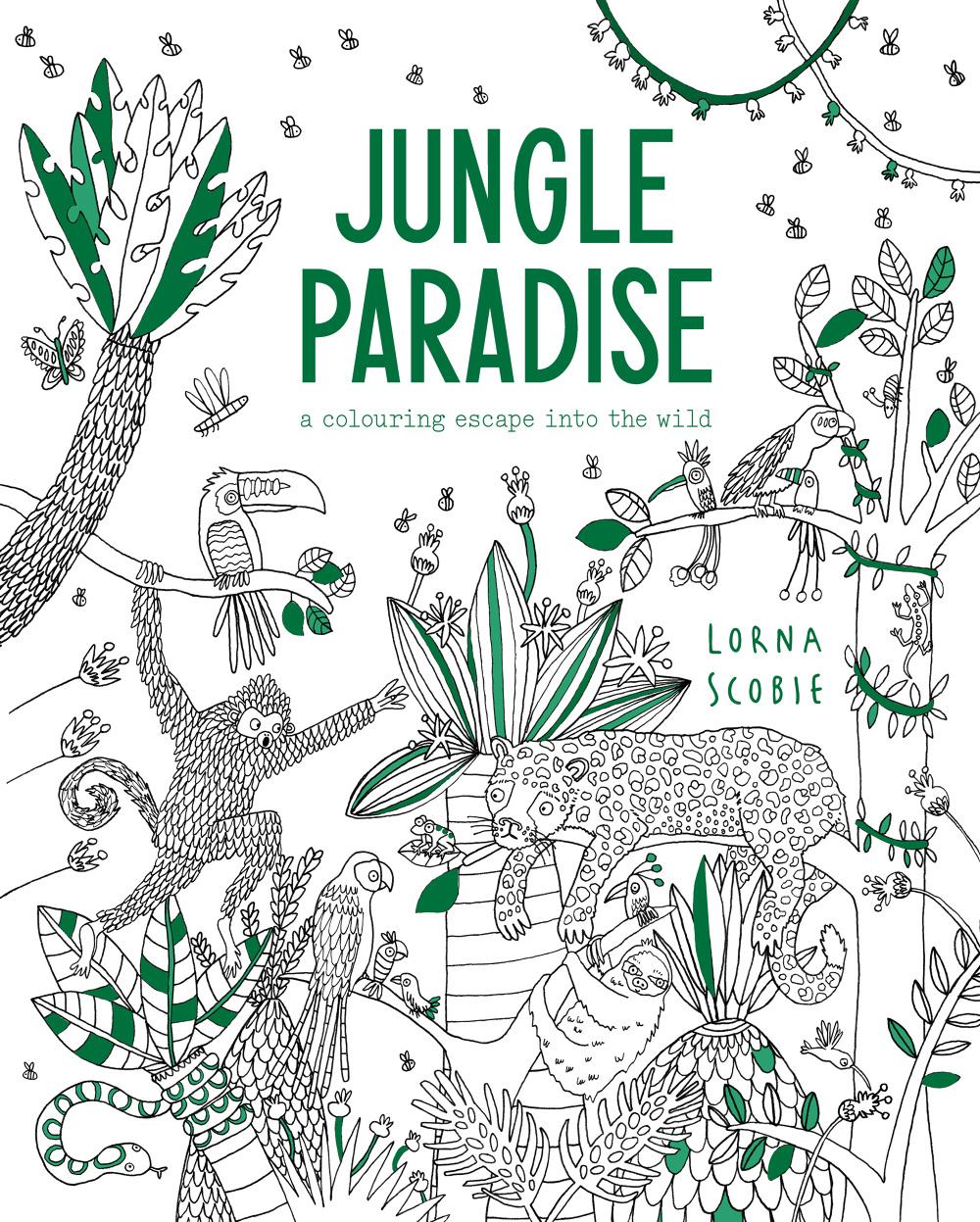 Jungle Paradise colouring book - Lorna Scobie Illustration