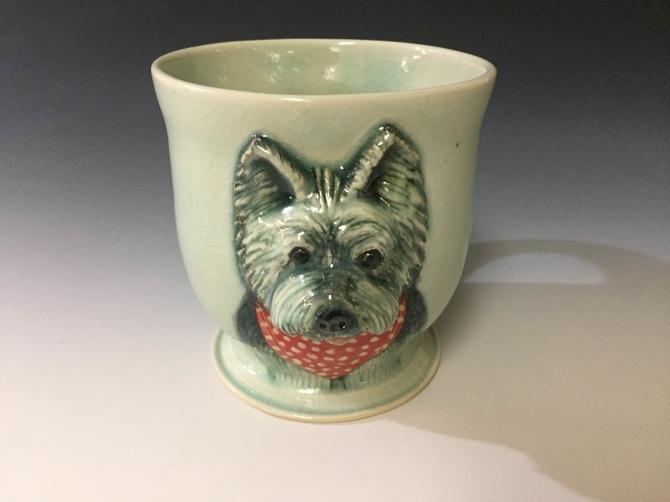 Terrier Soup mug Irish Terrier Ceramic Bowl sculptured dog Art bowl Ginger dog mug salad bowl cereal bowl children tableware
