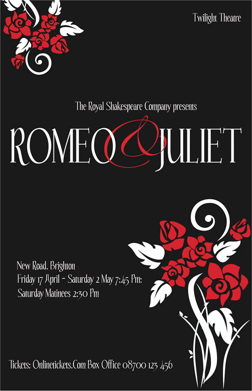 This Romeo And Juliet Playbill Poster Sticks To A Three Color Process Emphasize The Tone Mood Of Play